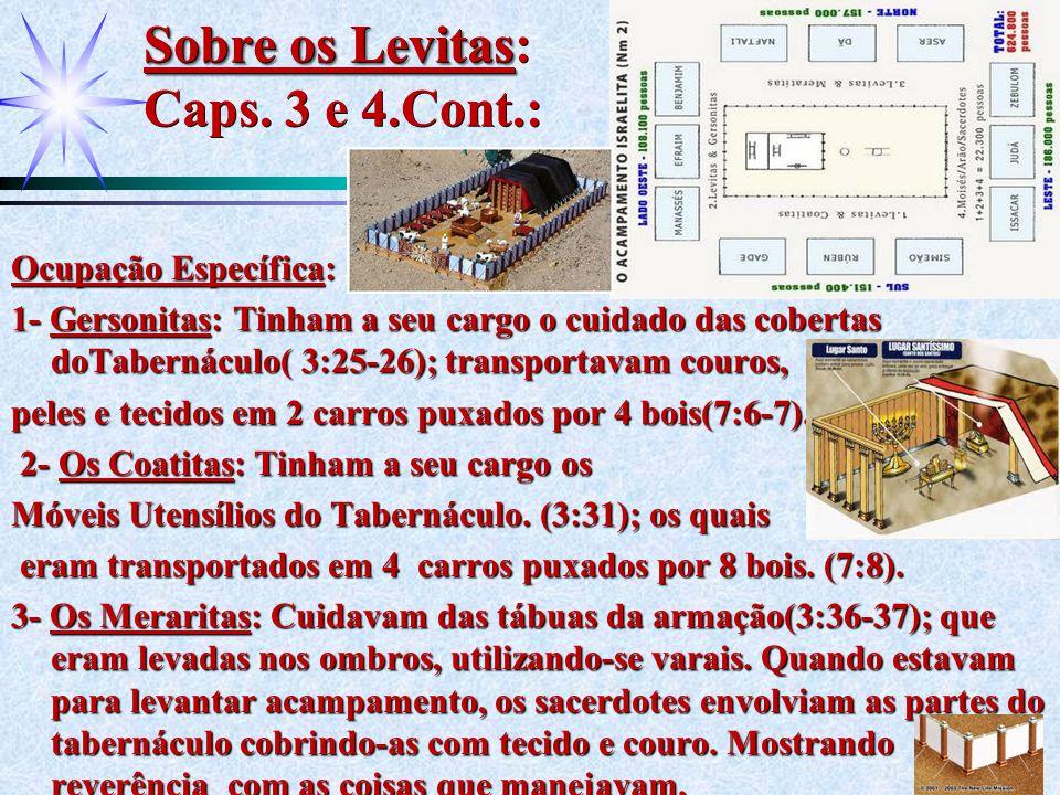 Sobre os Levitas Sobre os Levitas: Caps. 3 e 4.Cont.: Ocupação Específica: 1- Gersonitas: Tinham a seu cargo o cuidado das cobertas doTabernáculo( 3:2