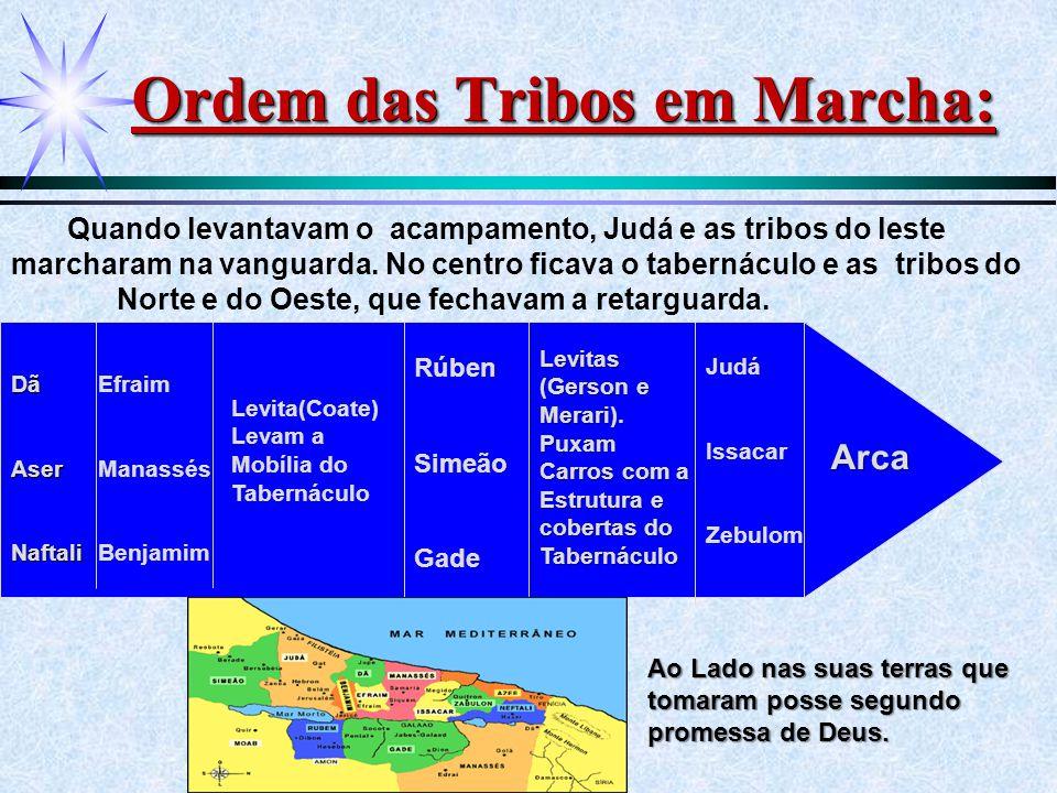 Ordem das Tribos em Marcha: Quando levantavam o acampamento, Judá e as tribos do leste marcharam na vanguarda. No centro ficava o tabernáculo e as tri