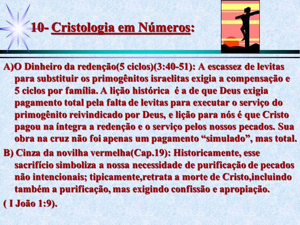 10- Cristologia em Números: A)O Dinheiro da redenção(5 ciclos)(3:40-51): A escassez de levitas para substituir os primogênitos israelitas exigia a com