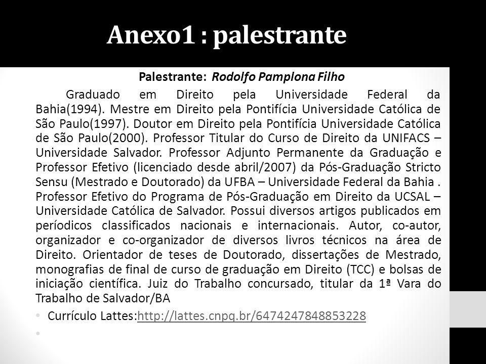 Palestrante: Rodolfo Pamplona Filho Graduado em Direito pela Universidade Federal da Bahia(1994). Mestre em Direito pela Pontifícia Universidade Catól