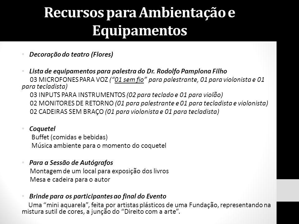 """Decoração do teatro (Flores) Lista de equipamentos para palestra do Dr. Rodolfo Pamplona Filho 03 MICROFONES PARA VOZ (""""01 sem fio"""" para palestrante,"""