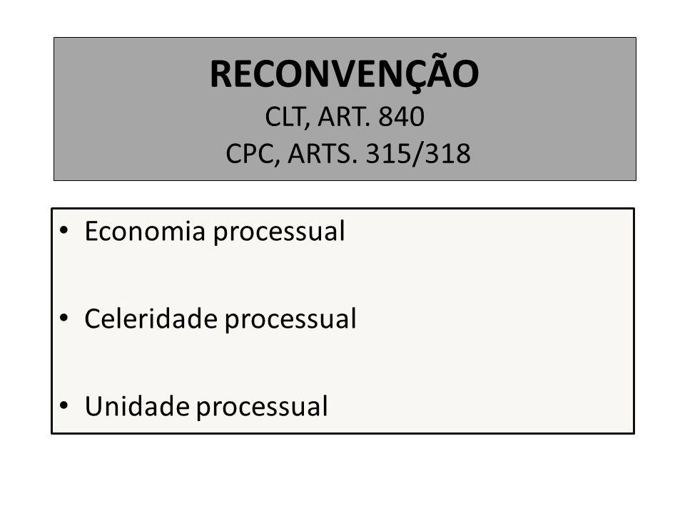 RECONVENÇÃO CLT, ART. 840 CPC, ARTS. 315/318 Economia processual Celeridade processual Unidade processual
