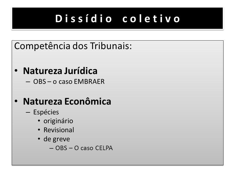 D i s s í d i o c o l e t i v o Competência dos Tribunais: Natureza Jurídica – OBS – o caso EMBRAER Natureza Econômica – Espécies originário Revisiona