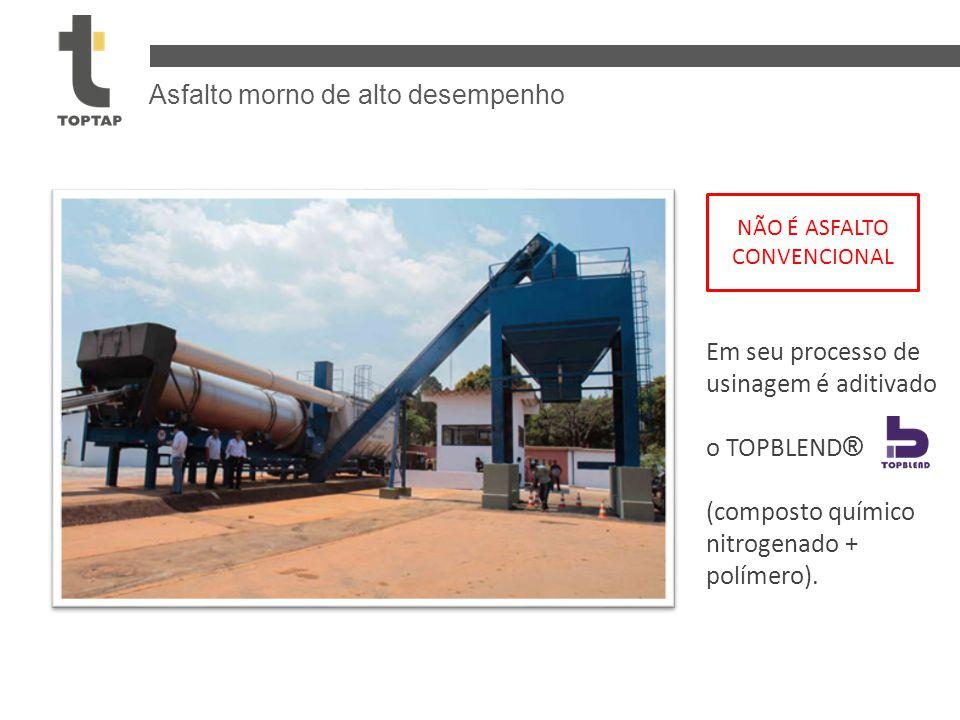 Asfalto morno de alto desempenho Em seu processo de usinagem é aditivado o TOPBLEND ® (composto químico nitrogenado + polímero). NÃO É ASFALTO CONVENC