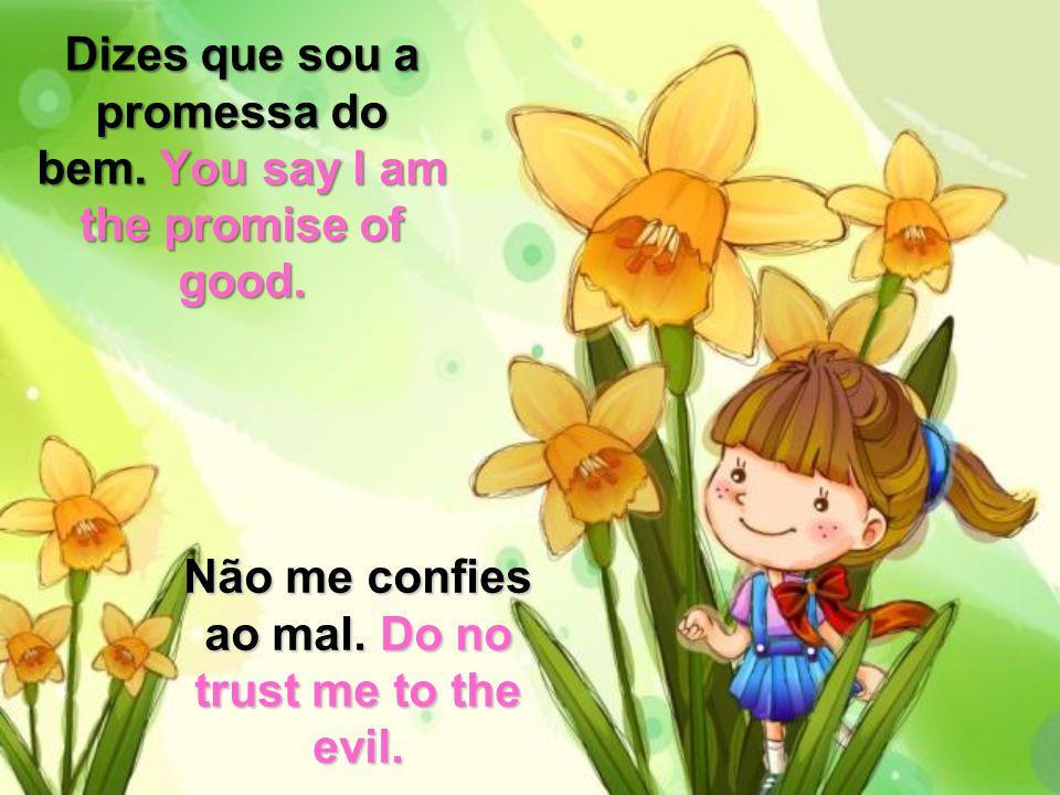 Dizes que sou a promessa do bem.You say I am the promise of good.