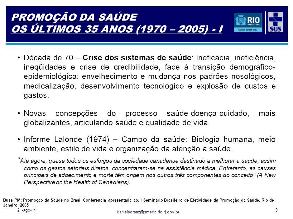 danielsoranz@smsdc.rio.rj.gov.br PROMOÇÃO DA SAÚDE OS ÚLTIMOS 35 ANOS (1970 – 2005) - I 21-ago-149 Década de 70 – Crise dos sistemas de saúde: Ineficá
