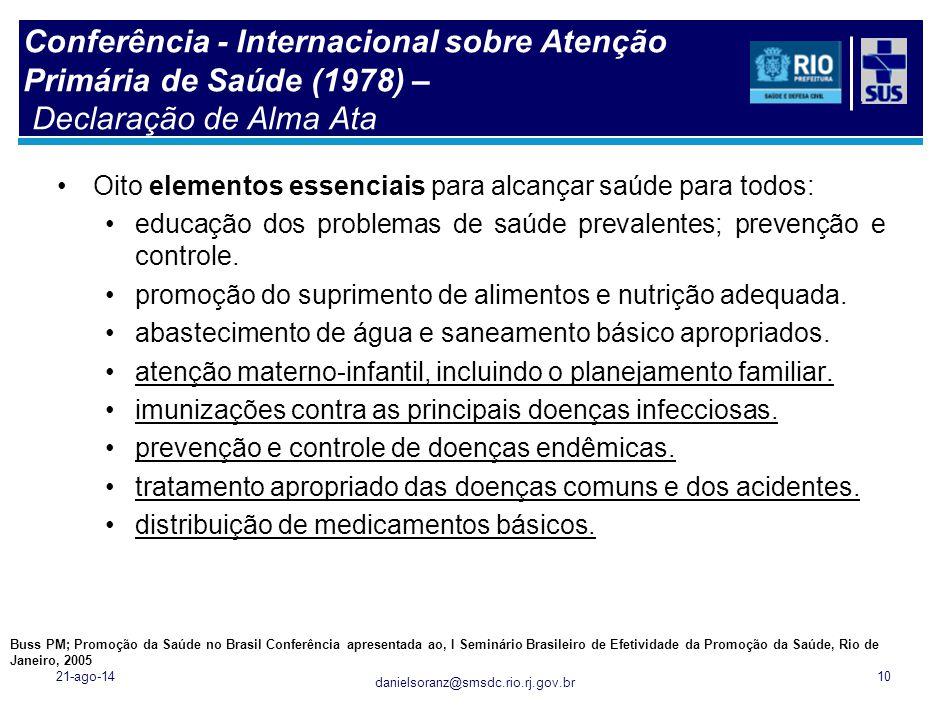 danielsoranz@smsdc.rio.rj.gov.br Conferência - Internacional sobre Atenção Primária de Saúde (1978) – Declaração de Alma Ata Oito elementos essenciais