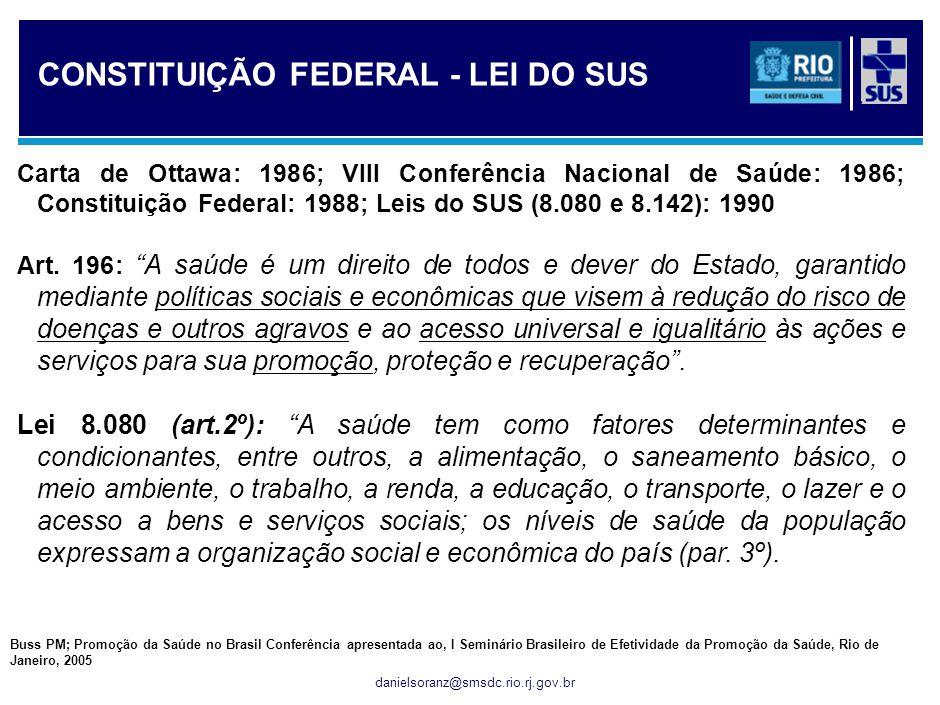 danielsoranz@smsdc.rio.rj.gov.br Carta de Ottawa: 1986; VIII Conferência Nacional de Saúde: 1986; Constituição Federal: 1988; Leis do SUS (8.080 e 8.1