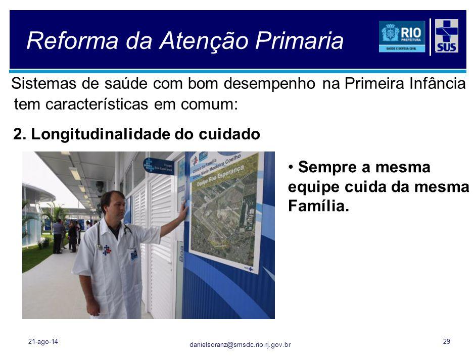 danielsoranz@smsdc.rio.rj.gov.br Reforma da Atenção Primaria Sistemas de saúde com bom desempenho na Primeira Infância tem características em comum: 2
