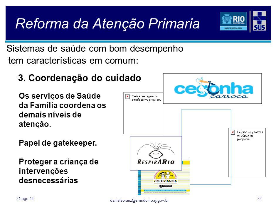 danielsoranz@smsdc.rio.rj.gov.br Reforma da Atenção Primaria Sistemas de saúde com bom desempenho tem características em comum: 21-ago-1432 3. Coorden