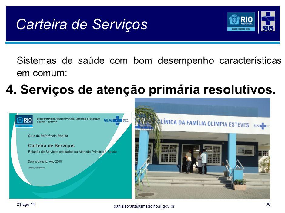 danielsoranz@smsdc.rio.rj.gov.br Carteira de Serviços Sistemas de saúde com bom desempenho características em comum: 4. Serviços de atenção primária r
