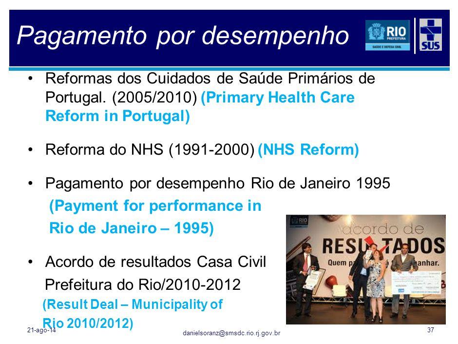 danielsoranz@smsdc.rio.rj.gov.br Pagamento por desempenho Reformas dos Cuidados de Saúde Primários de Portugal. (2005/2010) (Primary Health Care Refor