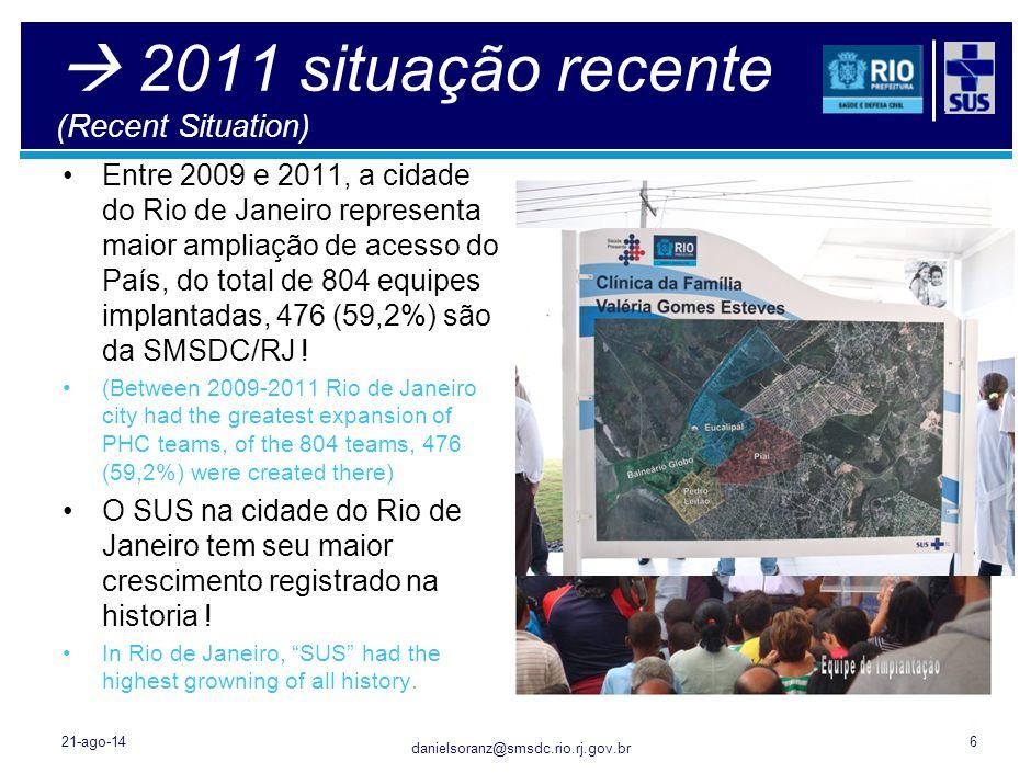 danielsoranz@smsdc.rio.rj.gov.br  2011 situação recente (Recent Situation) Entre 2009 e 2011, a cidade do Rio de Janeiro representa maior ampliação d