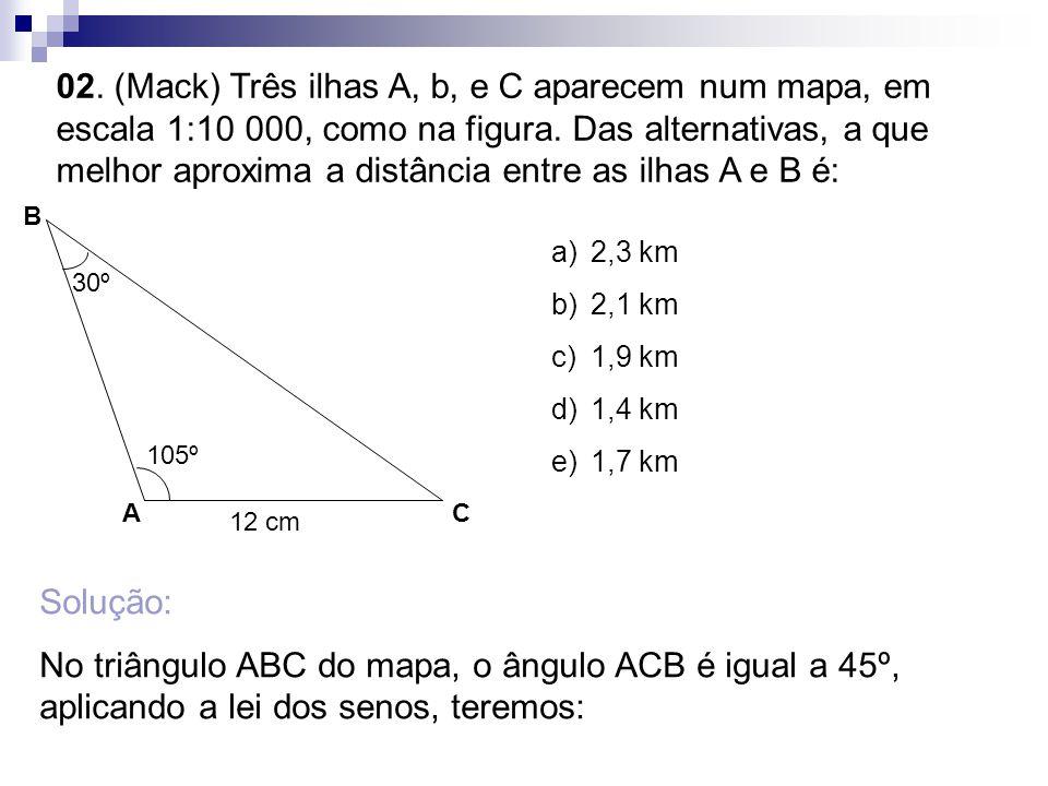 02. (Mack) Três ilhas A, b, e C aparecem num mapa, em escala 1:10 000, como na figura. Das alternativas, a que melhor aproxima a distância entre as il