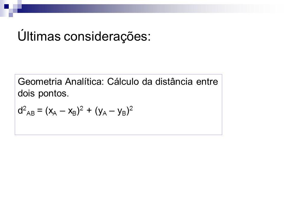 Últimas considerações: Geometria Analítica: Cálculo da distância entre dois pontos. d 2 AB = (x A – x B ) 2 + (y A – y B ) 2