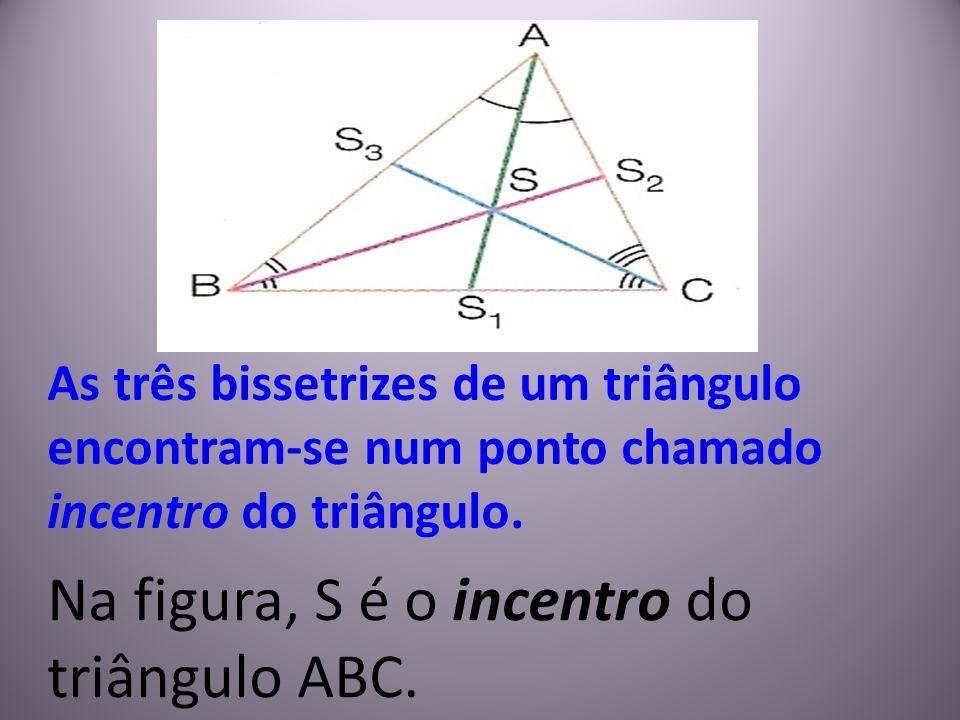 As três bissetrizes de um triângulo encontram-se num ponto chamado incentro do triângulo. Na figura, S é o incentro do triângulo ABC.