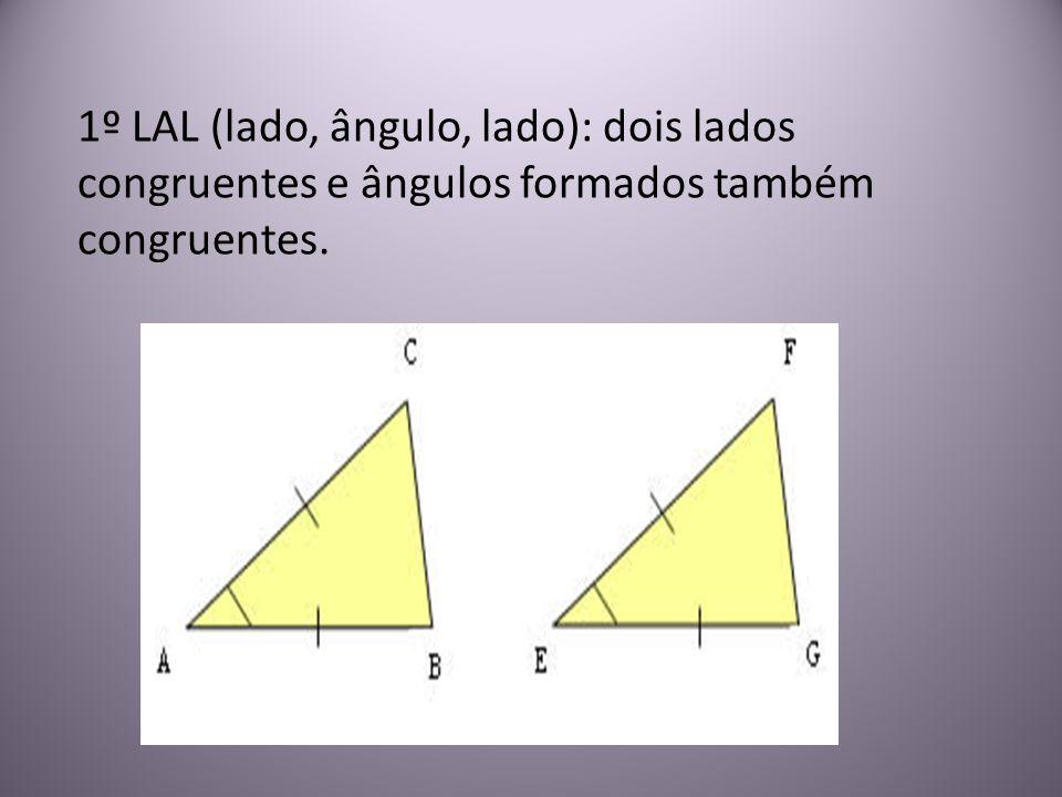 1º LAL (lado, ângulo, lado): dois lados congruentes e ângulos formados também congruentes.