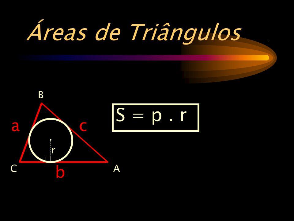 Áreas de Triângulos. B AC b a c S = p. r r