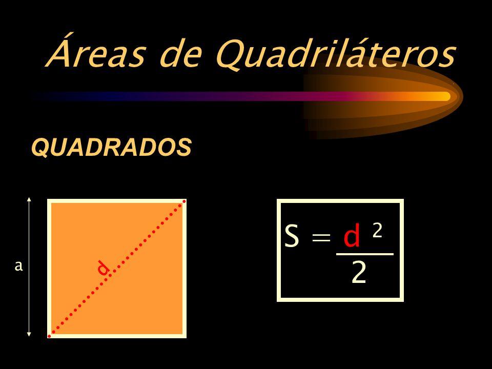 Áreas de Quadriláteros. QUADRADOS S = a 2 a d S = d 2 2