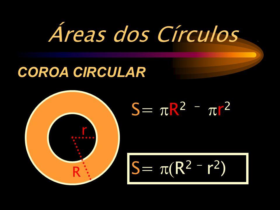 Áreas dos Círculos. S=  R 2 -  r 2 COROA CIRCULAR r R S=  R 2 - r 2 )