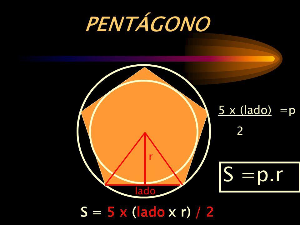 r 5 x (lado) =p 2 S = 5 x (lado x r) / 2 lado S =p.r S = 5 x (lado x r) / 2 PENTÁGONO