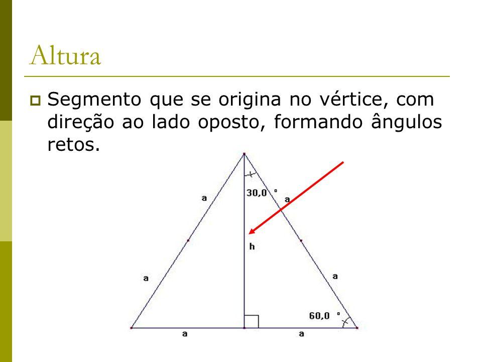 Felipe Pontes Altura  Segmento que se origina no vértice, com direção ao lado oposto, formando ângulos retos.
