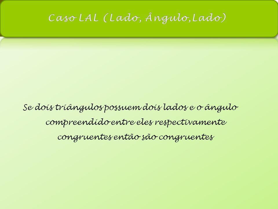 Se dois triângulos possuem dois lados e o ângulo compreendido entre eles respectivamente congruentes então são congruentes