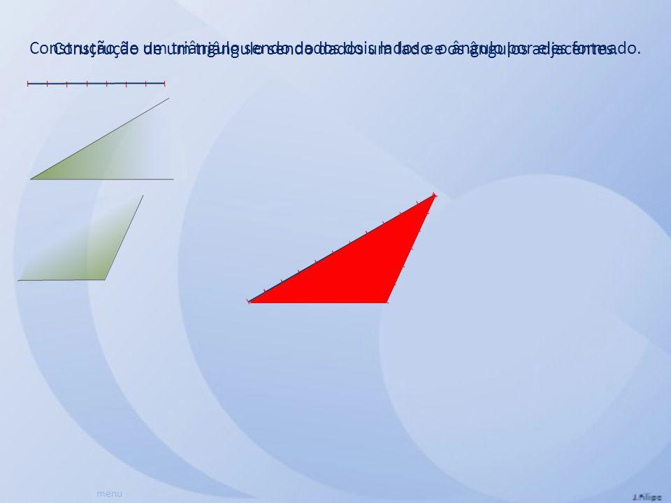 Construção de um triângulo sendo dados um lado e os ângulos adjacentes. menu