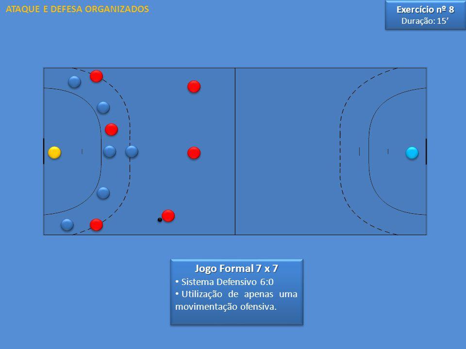 Jogo Formal 7 x 7 Sistema Defensivo 6:0 Utilização de apenas uma movimentação ofensiva. Jogo Formal 7 x 7 Sistema Defensivo 6:0 Utilização de apenas u