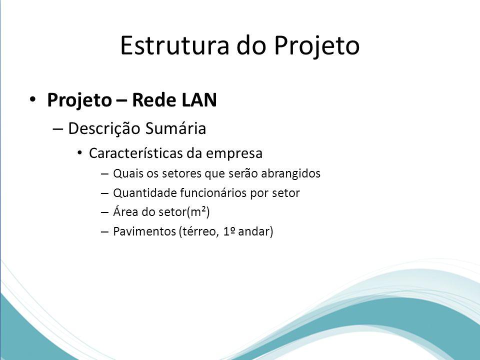 Projeto – Rede LAN – Descrição Sumária Características da empresa – Quais os setores que serão abrangidos – Quantidade funcionários por setor – Área d