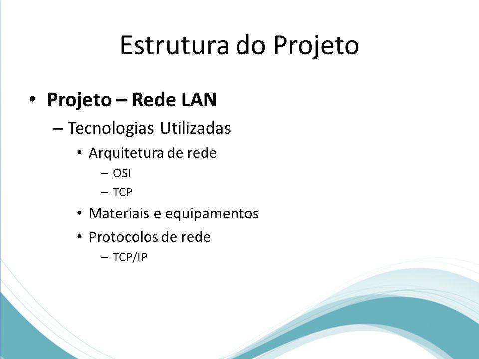 Estrutura do Projeto Projeto – Rede LAN – Tecnologias Utilizadas Arquitetura de rede – OSI – TCP Materiais e equipamentos Protocolos de rede – TCP/IP
