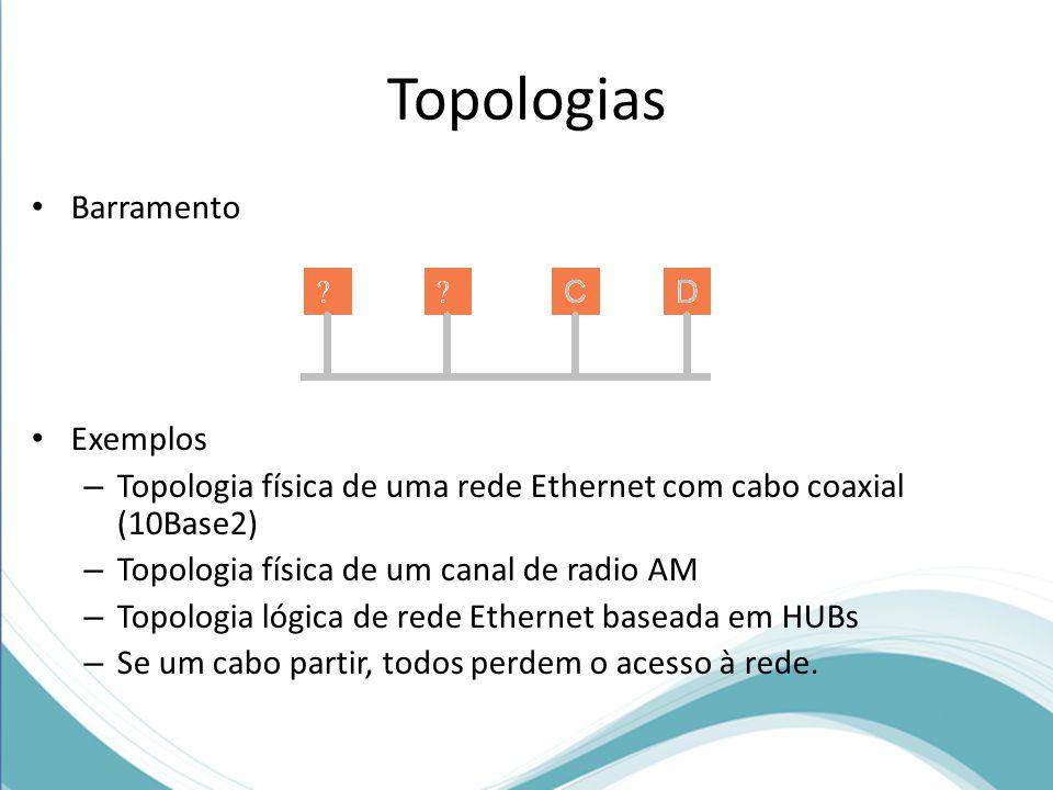 Topologias Barramento Exemplos – Topologia física de uma rede Ethernet com cabo coaxial (10Base2) – Topologia física de um canal de radio AM – Topolog