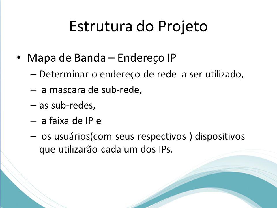 Estrutura do Projeto Mapa de Banda – Endereço IP – Determinar o endereço de rede a ser utilizado, – a mascara de sub-rede, – as sub-redes, – a faixa d