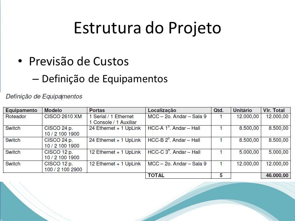 Estrutura do Projeto Previsão de Custos – Definição de Equipamentos