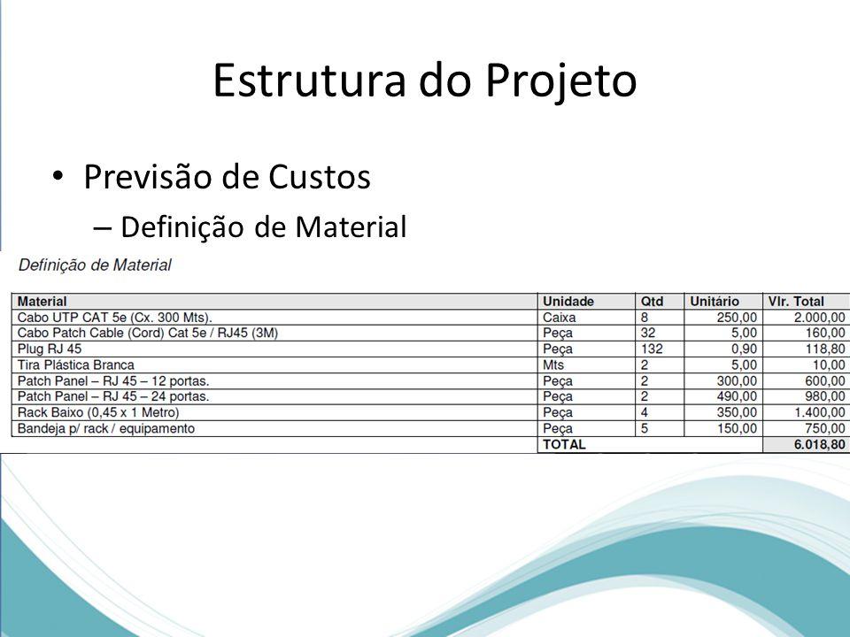 Estrutura do Projeto Previsão de Custos – Definição de Material