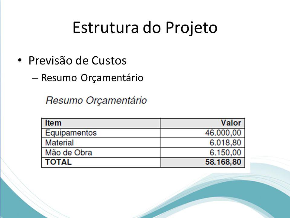Estrutura do Projeto Previsão de Custos – Resumo Orçamentário
