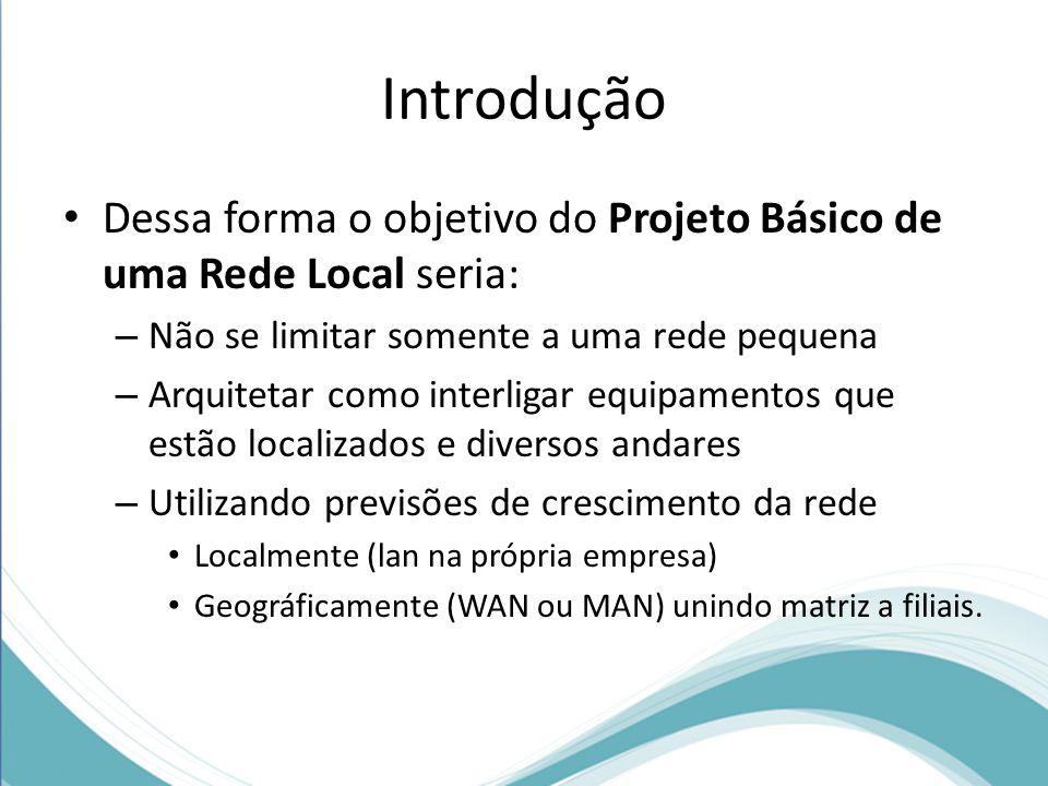 Introdução Dessa forma o objetivo do Projeto Básico de uma Rede Local seria: – Não se limitar somente a uma rede pequena – Arquitetar como interligar