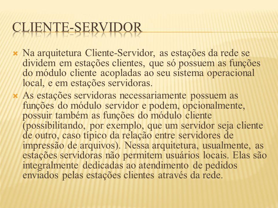  Na arquitetura Cliente-Servidor, as estações da rede se dividem em estações clientes, que só possuem as funções do módulo cliente acopladas ao seu s