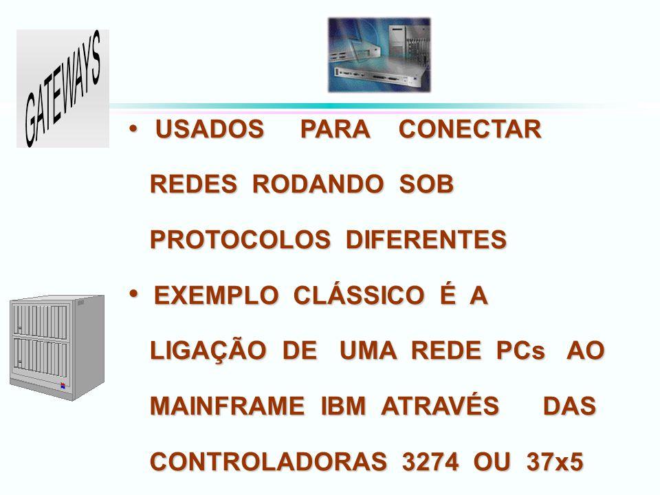 USADOS PARA CONECTAR USADOS PARA CONECTAR REDES RODANDO SOB REDES RODANDO SOB PROTOCOLOS DIFERENTES PROTOCOLOS DIFERENTES EXEMPLO CLÁSSICO É A EXEMPLO CLÁSSICO É A LIGAÇÃO DE UMA REDE PCs AO LIGAÇÃO DE UMA REDE PCs AO MAINFRAME IBM ATRAVÉS DAS MAINFRAME IBM ATRAVÉS DAS CONTROLADORAS 3274 OU 37x5 CONTROLADORAS 3274 OU 37x5