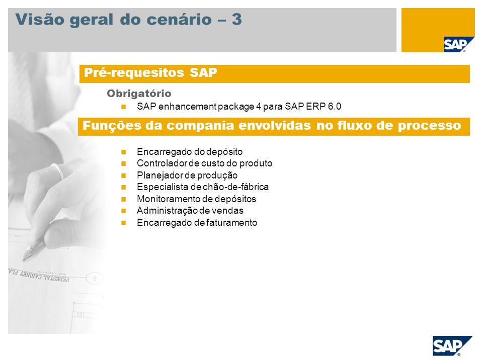 Visão geral do cenário – 3 Obrigatório SAP enhancement package 4 para SAP ERP 6.0 Funções da empresa envolvidas nos processos Encarregado do depósito