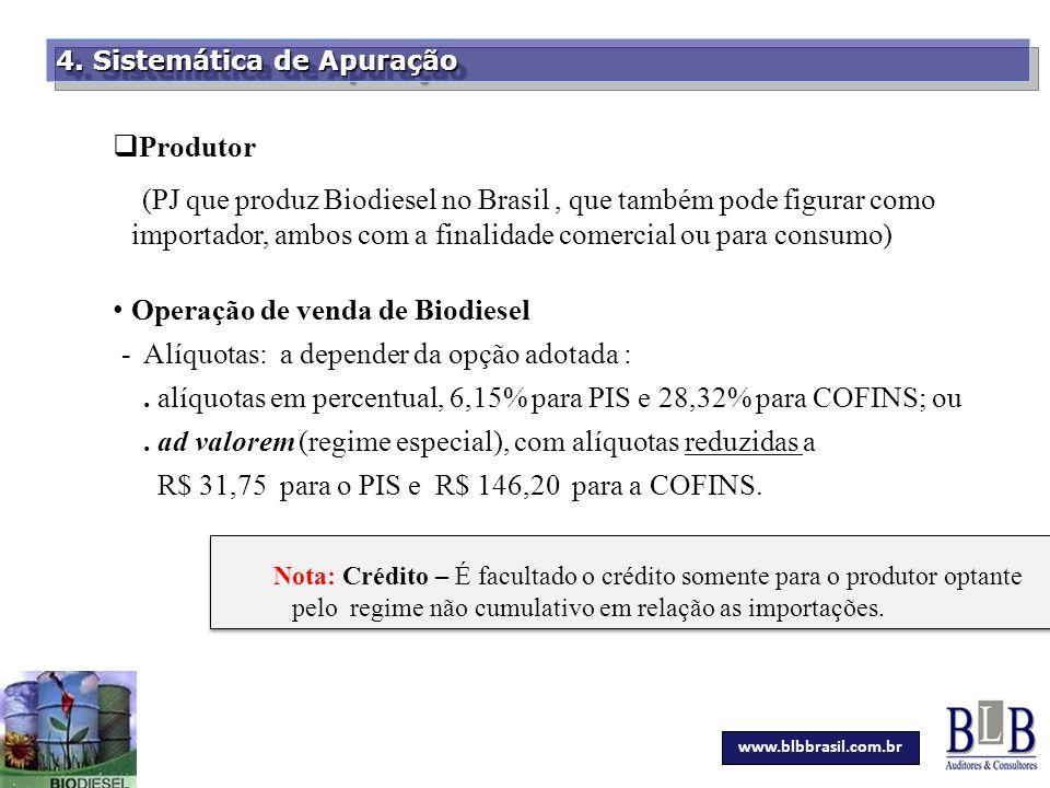 Secretaria da Fazenda 4. Sistemática de Apuração  Produtor (PJ que produz Biodiesel no Brasil, que também pode figurar como importador, ambos com a f