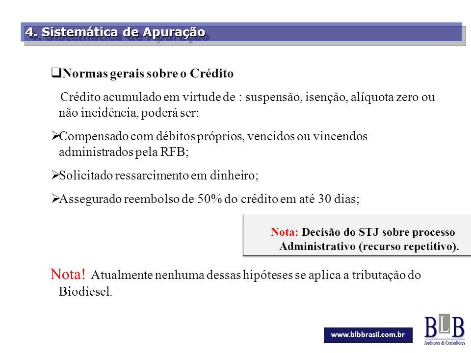Secretaria da Fazenda 4. Sistemática de Apuração  Normas gerais sobre o Crédito Crédito acumulado em virtude de : suspensão, isenção, alíquota zero o