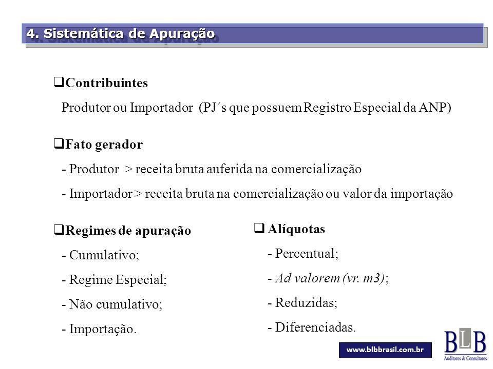 Secretaria da Fazenda 4. Sistemática de Apuração  Contribuintes Produtor ou Importador (PJ´s que possuem Registro Especial da ANP)  Fato gerador - P