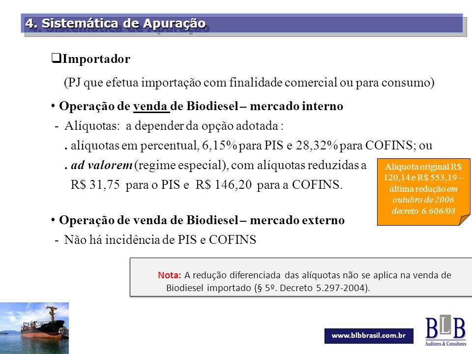 Secretaria da Fazenda 4. Sistemática de Apuração  Importador (PJ que efetua importação com finalidade comercial ou para consumo) Operação de venda de