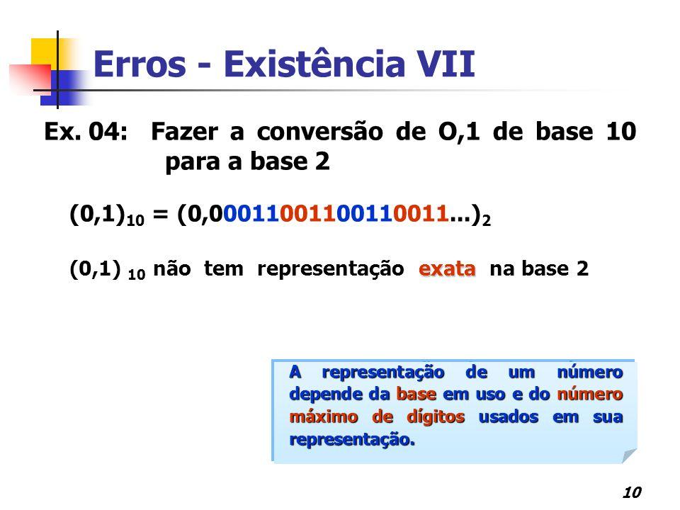 10 Erros - Existência VII Ex. 04:Fazer a conversão de O,1 de base 10 para a base 2 (0,1) 10 = (0,00011001100110011...) 2 exata (0,1) 10 não tem repres