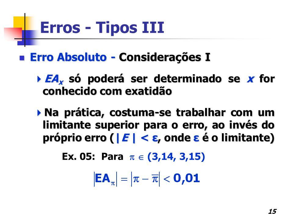 15 Erros - Tipos III Erro Absoluto - Considerações I Erro Absoluto - Considerações I  EA x só poderá ser determinado se x for conhecido com exatidão  Na prática, costuma-se trabalhar com um limitante superior para o erro, ao invés do próprio erro (|E | < ε, onde ε é o limitante) Ex.