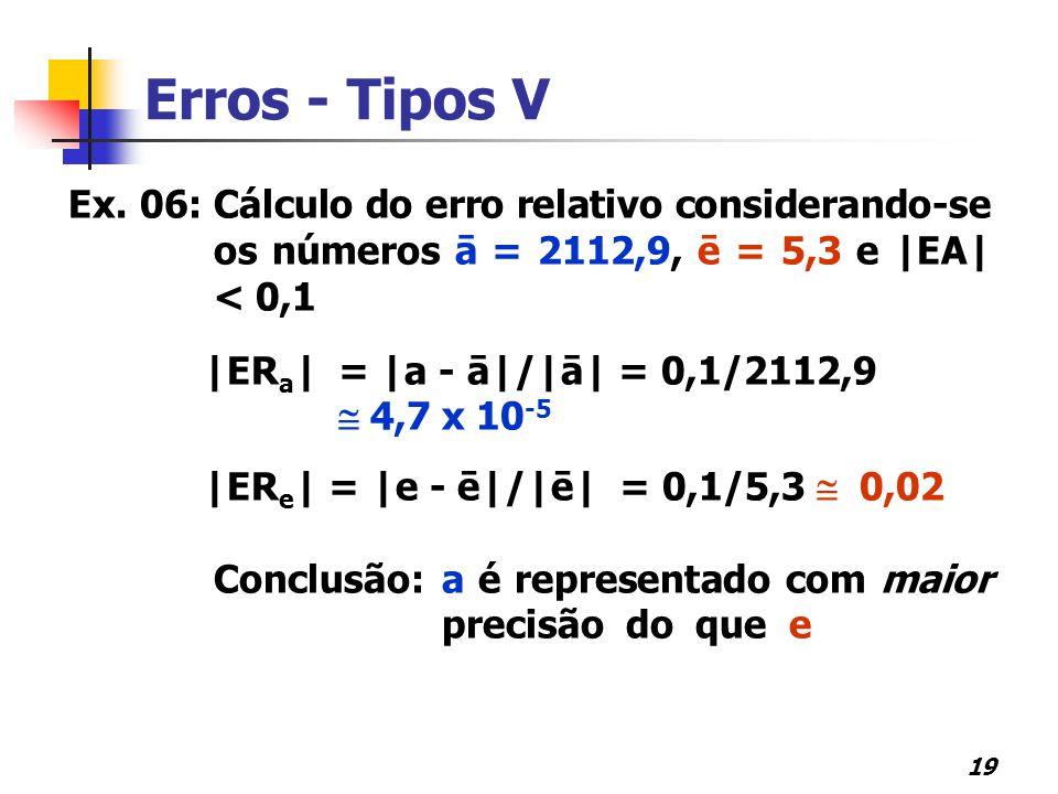 19 Ex. 06: Cálculo do erro relativo considerando-se os números ā = 2112,9, ē = 5,3 e  EA  < 0,1  ER a   =  a - ā / ā  = 0,1/2112,9  4,7 x 10 -5  ER e