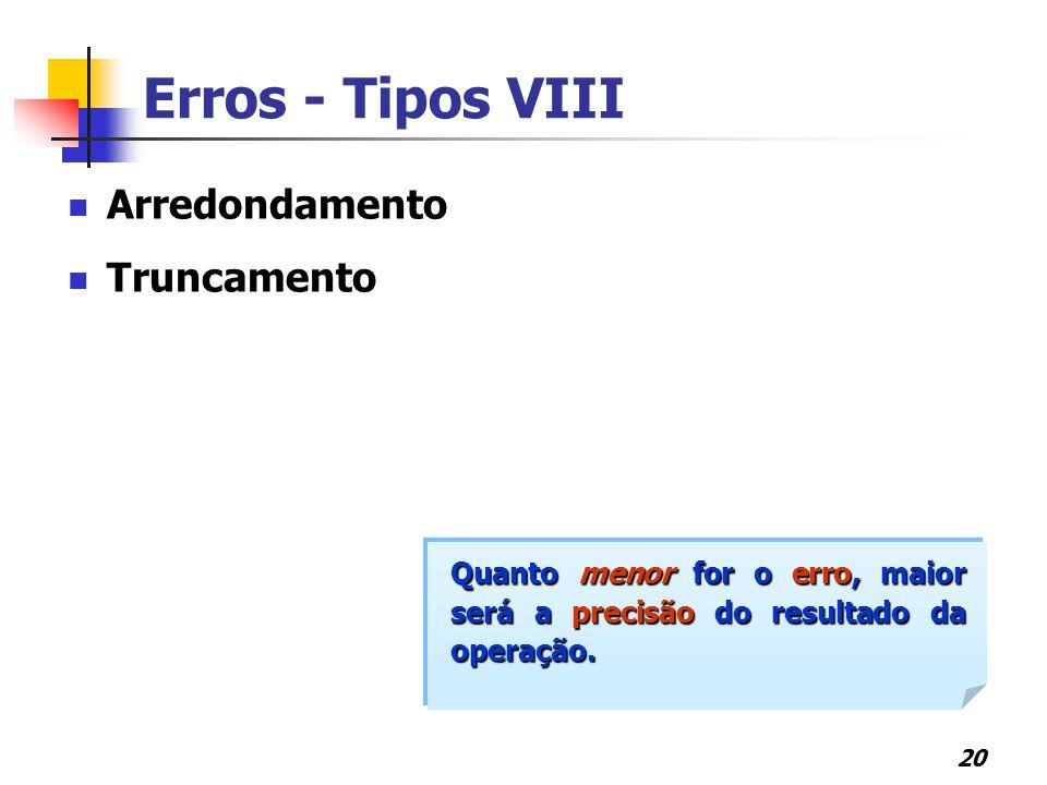 20 Arredondamento Truncamento Quanto menor for o erro, maior será a precisão do resultado da operação. Erros - Tipos VIII