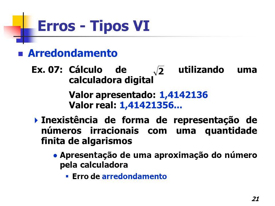 21 Erros - Tipos VI Arredondamento Ex. 07: Cálculo de utilizando uma calculadora digital Valor apresentado: 1,4142136 Valor real: 1,41421356...  Inex