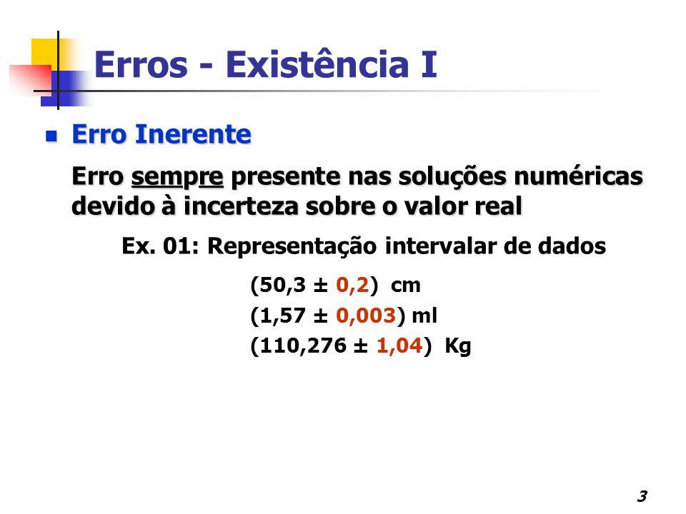3 Erros - Existência I Erro Inerente Erro Inerente Erro sempre presente nas soluções numéricas devido à incerteza sobre o valor real Ex. 01: Represent